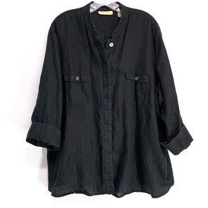 Kate Hill Black Linen Button Down Shirt size 3X